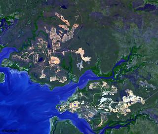 The world largest bauxite mine found near Weipa, Queensland, Australia. Original from NASA. Digitally enhanced by rawpixel.