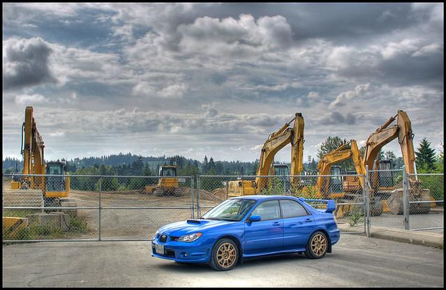 Subaru STI road construction