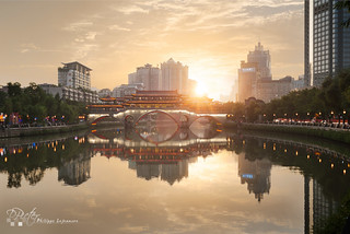 Chengdu Anshun bridge at sunset by plej_photo - 乐让菲力