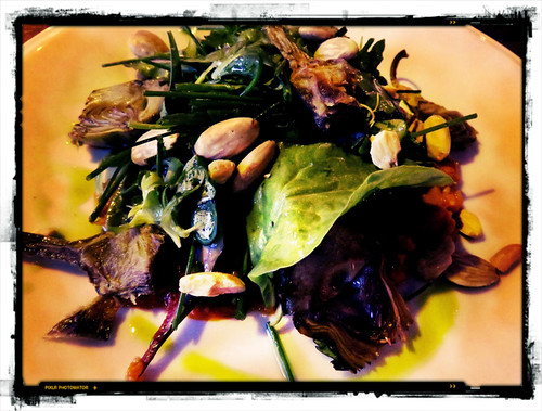 Artichoke, almond and fennel salad at the Pilek Restaurant in the NDSM of Amsterdam