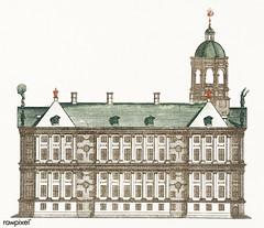 The City Hall in Amsterdam by Johan Teyler (1648 -1709). Original from The Rijksmuseum. Digitally enhanced by rawpixel.