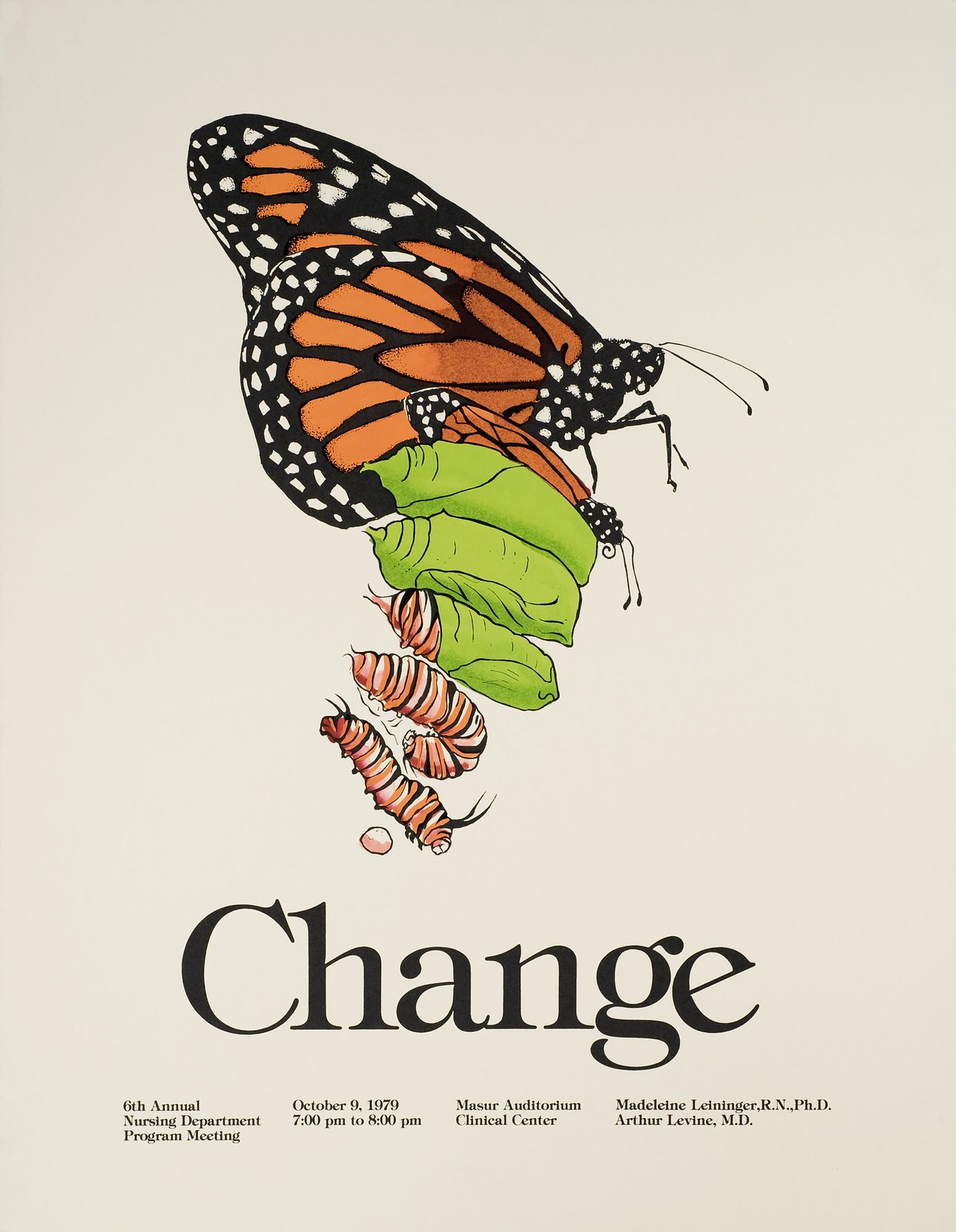 "An old science poster that shows a chrysalis in the stages of becoming a butterfly. It has the word ""Change"" at the bottom."