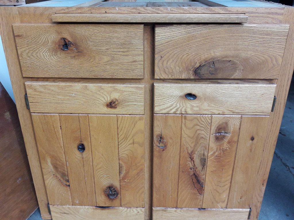 Knotty pine kitchen cabinet, Lakota Lhamo Ling, Dash Point ...