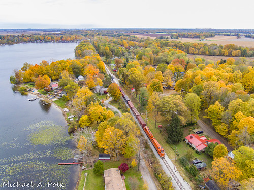 chicago south shore bend railroad emd gp382 af2 freight train new carlisle hudson lake indiana fall color tree boat