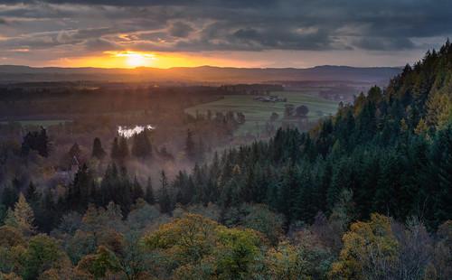 sunrise mist fog trees sun loch rohallionlodge stairbridge birnamhill birnam dunkeld perth perthshire landscape scotland scottish nikond7200 sigma350mmf14 view autumn outside november sigma dawn weather nature light clouds lake