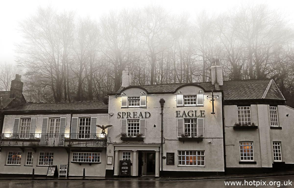 SpreadEagel,Spread Eagle,pub,bar,Lymm,Eagle Brow,Cheshire,WBC,Warrington,England,UK,fog,foggy,weather,winter,real ale,village,boozer,sepia,brown,wet,dull,rain,rainy,trees,tree