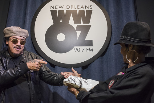 Leo Nocentelli and Dee Lindsey at WWOZ's 38th birthday - 12.4.18. Photo by Ryan Hodgson-Rigsbee rhrphoto.com.