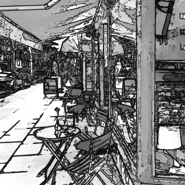 the small street cafe (bw)
