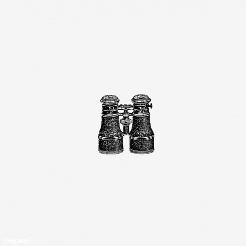 Binoculars in vintage style | by Free Public Domain Illustrations by rawpixel