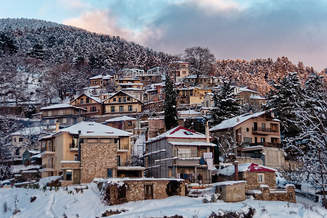 Snow covered houses, Karpenisi, Greece