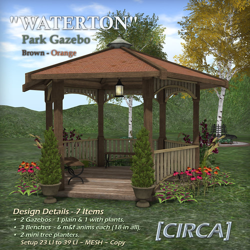 "@ SWANK | [CIRCA] - ""WATERTON"" Park Gazebo - Brown Orange 