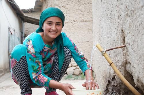 Washing dishes in rural Tajikistan