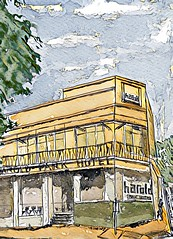 Harold Park Hotel, Glebe. Line and watercolour sketch, with Prisma filter, December 2018.