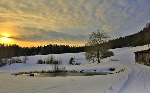 pond weiher teich staw sonnenuntergang himmel wolken landschaft dorf clouds sky sunset landscape canon eos d5 markiii evening abend dusk zmierzch drzewo baum zima bavaria germany