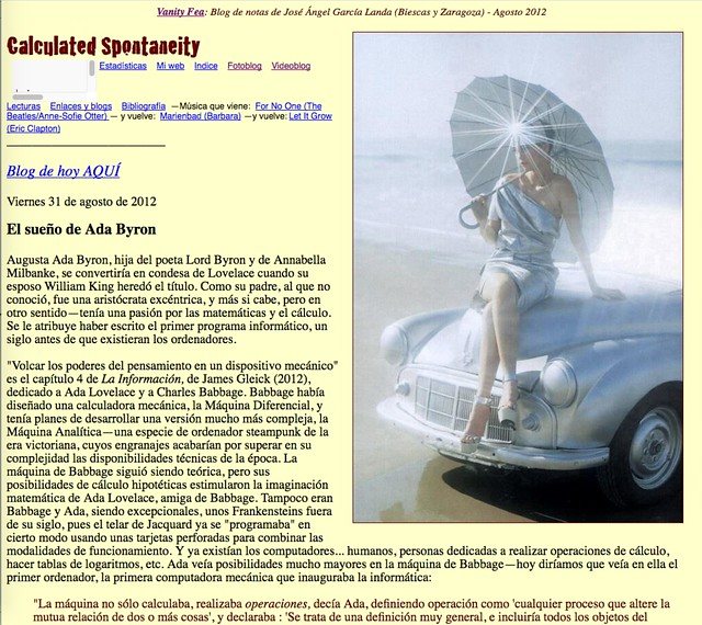 Calculated Spontaneity: Blog de notas de agosto de 2012