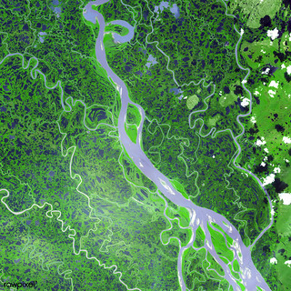 The Mackenzie River in the Northwest Territories, Canada. Original from NASA. Digitally enhanced by rawpixel.