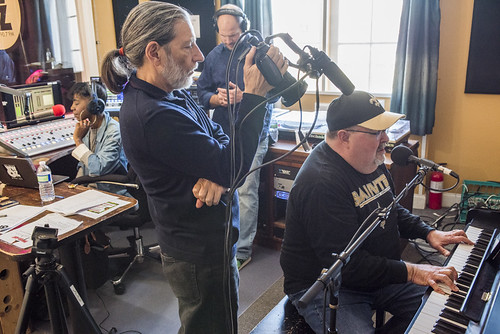 John Papa Gros at WWOZ's 38th birthday celebration as Charlie Steiner films, Cole Williams hosts, Scott Borne oversees - 12.4.18. Photo by Ryan Hodgson-Rigsbee rhrphoto.com.