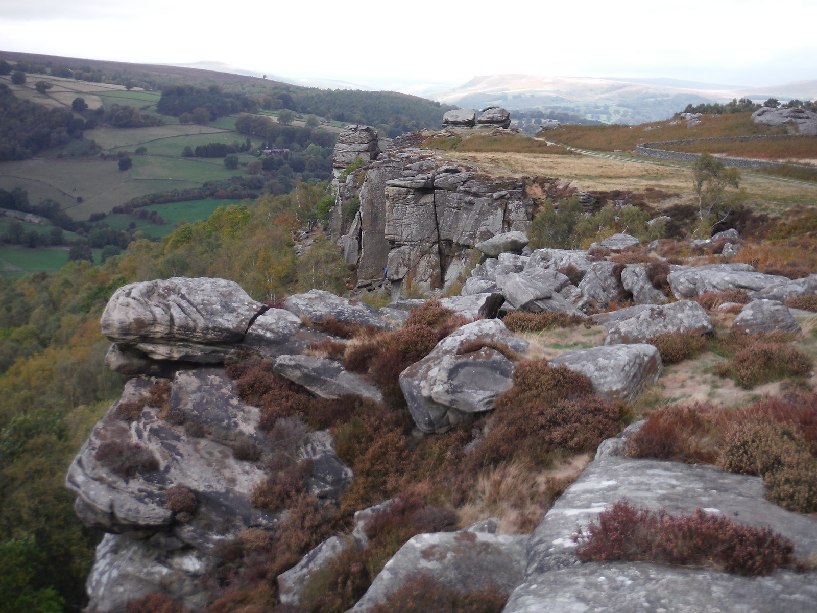 Backview from Curbar Edge towards Bamford Edge (Rockclimber at bottom) SWC Walk 322 - Grindleford Circular (via Chatsworth House)