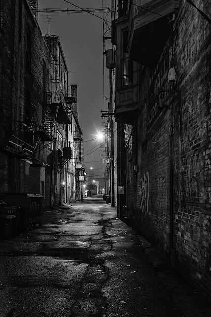 An Alley in Bay City Michigan in monochrome
