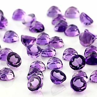 natural purple amethyst round rose cut gemstone loose
