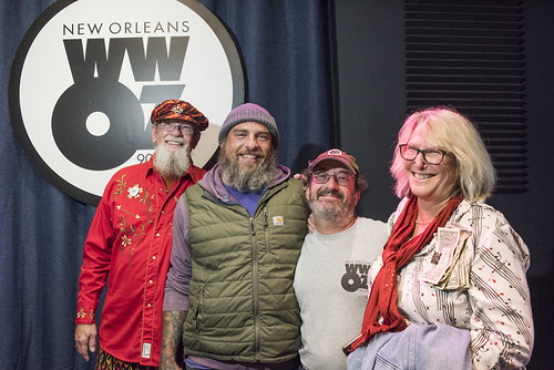 Tommy Boehm, Murf Reeves, Ron Phillips, Missy Bowen at WWOZ's 38th birthday - 12.4.18. Photo by Ryan Hodgson-Rigsbee rhrphoto.com.