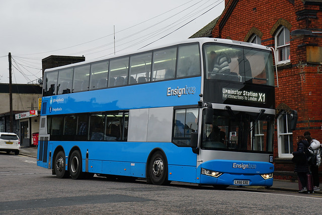 NEW BOXING DAY ONLY ROUTE; Ensignbus 403, LX66 GXE, on route X1 at Upminster Station