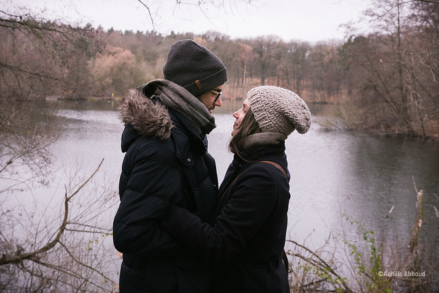Love in front of a lake
