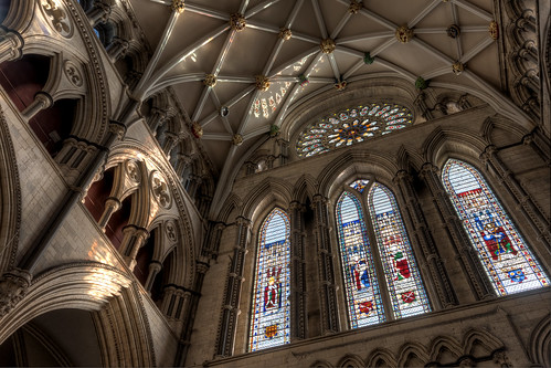 englishgothic minster yorkminster architecture buildings cathedral church gothic lowpov lowangleofview medieval sacral sacred stainedglass york northyorkshire unitedkingdom rosewindow england southtransept transept