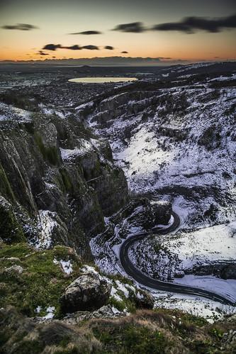 cheddar gorge somerset snow winter ice samyang 12mm f2 winding road southwest uk cliffs brent knoll reservoir long exposure