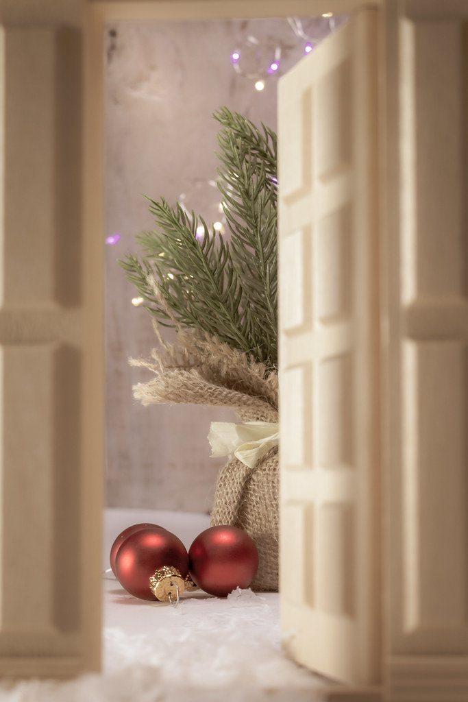 Christmas Dollhouse Decorations.Christmas Holiday Decorations Through A Doll House Door Flickr