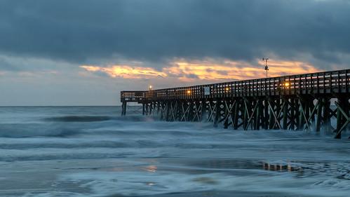 pier storm cloudsstormssunsetssunrises predawn dawn sunrise sirui trip tripod charleston chs southcarolina south carolina nikon d850 nikond850 ocean beach waves isleofpalms palms iop