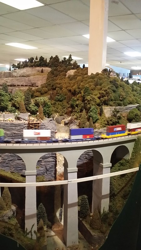 Waterfall and bridge on HO Layout