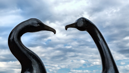 duncanyvesmckiernan washington cormorants bronze portangeles citypier birds art two statue sculpture publicart clouds