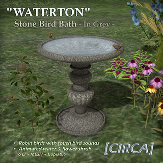 "@ SWANK | [CIRCA] - ""WATERTON"" - Bird Bath - Grey 