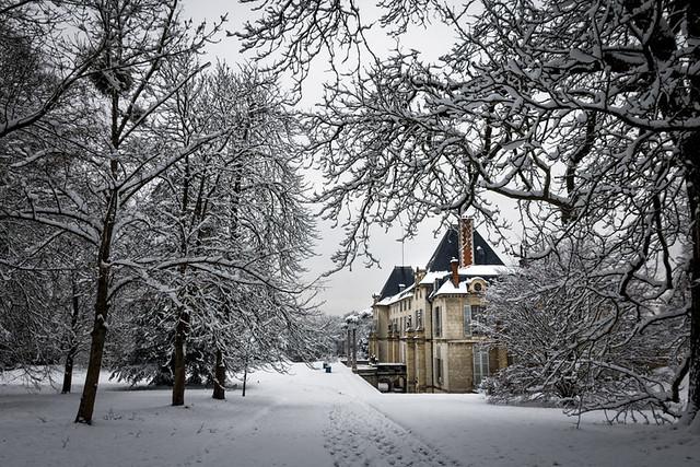 Jour de neige au Château de la Malmaison