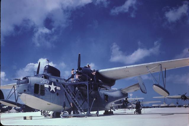 PBM-5 Mariner US Navy Tanapag Harbor Saipan Mariana Islands March 1945 JEC 02111