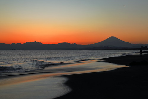 sunset mtfuji beach goldenhour