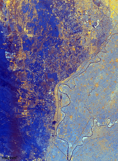 This spaceborne radar image shows the area just north of the city of Cairo, Egypt, where the Nile River splits into two main branches. Original from NASA. Digitally enhanced by rawpixel