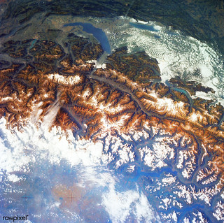 Snow covered Alps of France, Italy, and Switzerland. Original from NASA. Digitally enhanced by rawpixel.