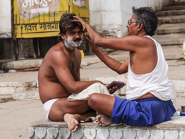 Shaving on the ghats