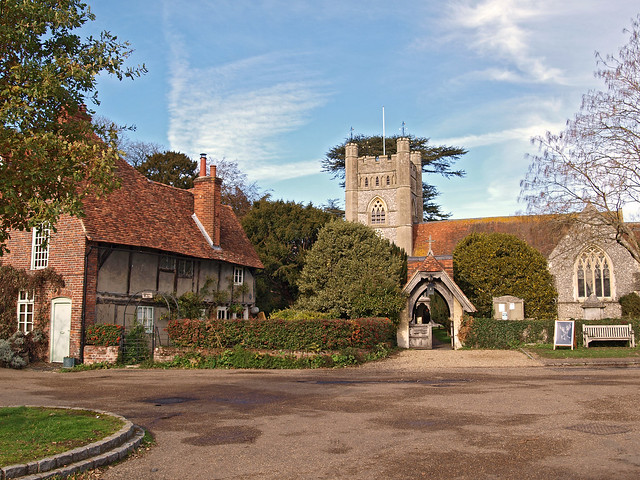 Lychgate Cottage and the Church of St. Mary. Hambleden, Buckinghamshire, England