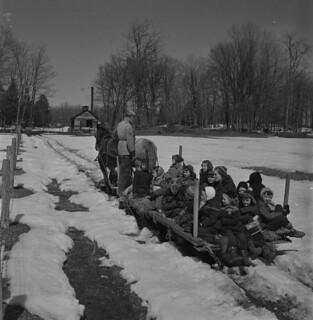 Schoolchildren and teacher on a horse-drawn sleigh at a maple sugar bush, Québec / Des écoliers et leur enseignante se promenant dans une érablière, sur un traîneau tiré par des chevaux (Québec)