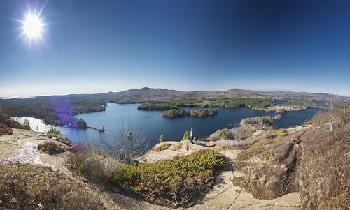 maine hiking dog outdoors view lake cliff rock sky camden camdenmaine me