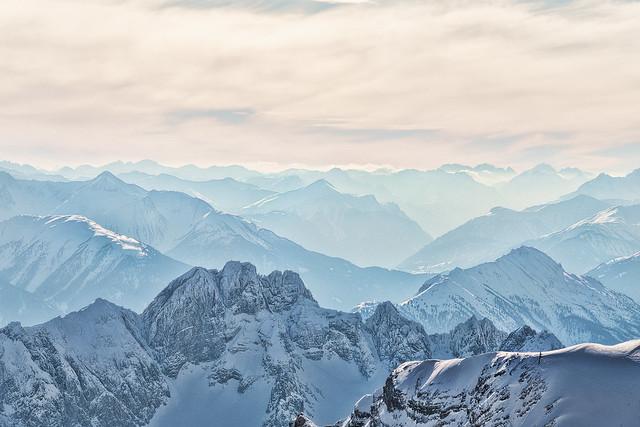 Alpine valleys in wintertime