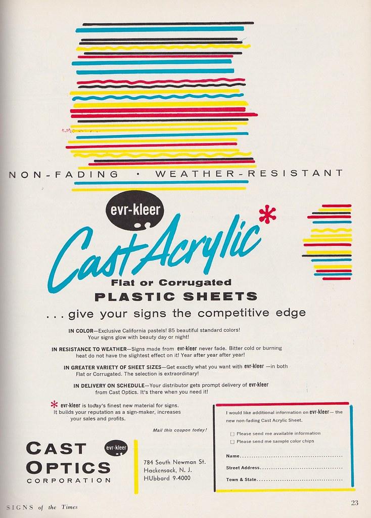 Vintage Cast Optics Cast Acrylic Sheets Ad 1961 | Source: Si