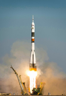 The Soyuz TMA-16 launches from the Baikonur Cosmodrome in Kazakhstan on Sept. 30, 2009. Original from NASA. Digitally enhanced by rawpixel.