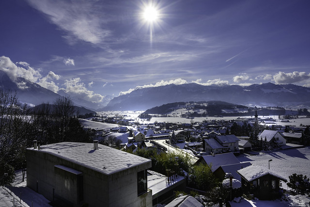 Sunny winter day in Kaltbrunn - Switzerland