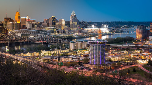 sunset bluehour river riverfront downtown cincinnati ohio ohioriver i71