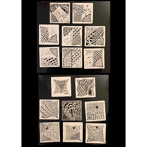 """Had a great time this evening teaching an """"Introduction to Zentangle"""" class to seven students at a private residence. Check out their beautiful work! #zentangle #tangle #tangling #czt #laurelstoreyczt #art #classes #artclass #artclasses #draw #drawing #wi 