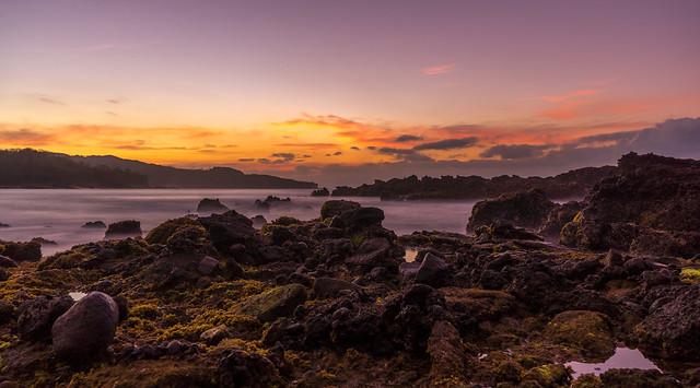 Sawarna. Rocks at dawn. Early bird gets a reward